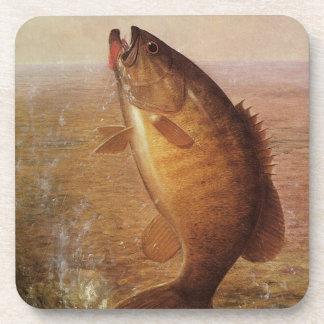 Vintage Largemouth Brown Bass, Sports Lake Fishing Drink Coaster