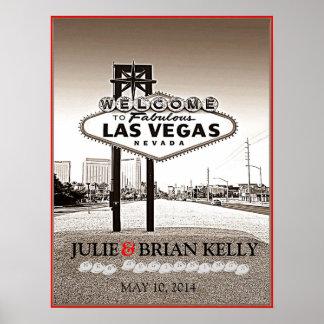 Vintage Las Vegas Wedding Guest Book Poster Poster