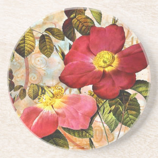 Vintage Late Summer Roses Collage Art Coaster