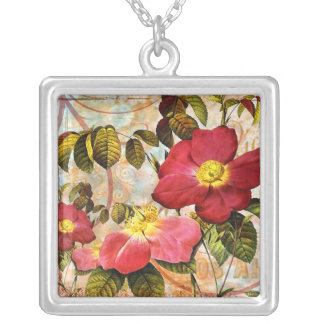 Vintage Late Summer Roses Collage Art Necklace Pen