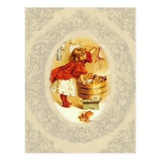 Vintage Laundry Girl Postcard