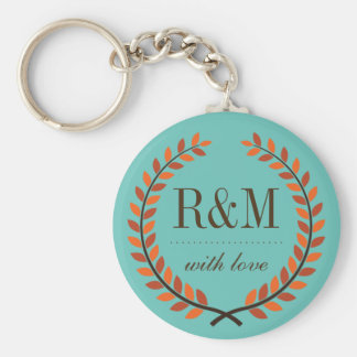 Vintage Laurel Wreath Monogram Keychain Blue