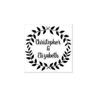 Vintage Laurel Wreath | Simple Wedding Greenery Rubber Stamp