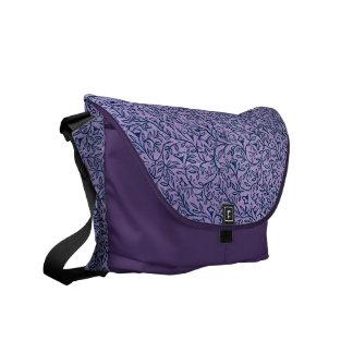 Vintage Lavender Blue Floral Leaf Messenger Bag
