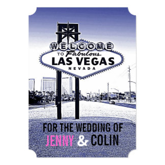Vintage Lavender Blue Las Vegas Wedding Invites Custom Announcement