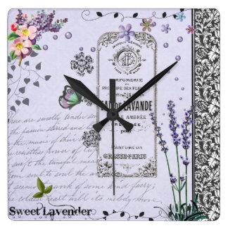 Vintage Lavender Collage clock