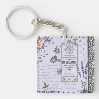 Vintage Lavender Collage keychain