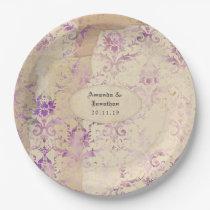 Vintage Lavender Damask Wedding Paper Plate