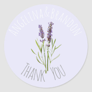 Vintage Lavender for weddings - Thank you Classic Round Sticker