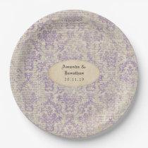 Vintage Lavender Newspaper Wedding Paper Plate