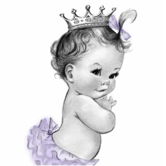 Vintage Lavender Princess Baby Girl Shower Standing Photo Sculpture