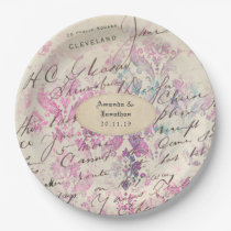 Vintage Lavender Themed Damask Wedding Paper Plate