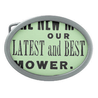 Vintage lawn mower advert oval belt buckles