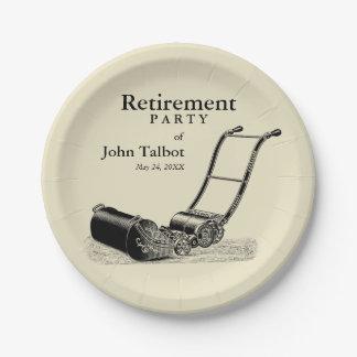 VINTAGE Lawn Mower Retirement Party Paper Plates