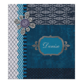Vintage Layers of Blue with Sequins Blot & Frame Poster