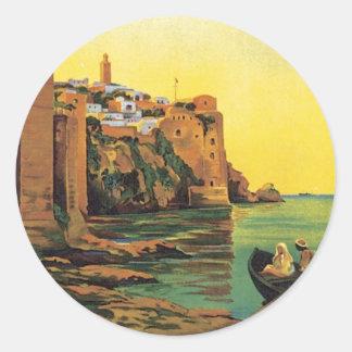 Vintage Le Maroc Morocco Classic Round Sticker