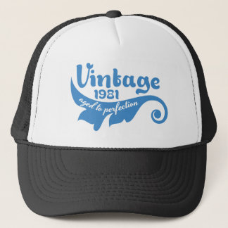 Vintage LEAF aged to perfection 1981 blue.ai Trucker Hat