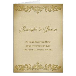 Vintage Leaf Scroll Style Wedding Menu  in Beige Card
