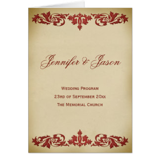 Vintage Leaf Scroll Wedding Program in Burgundy
