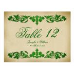 Vintage Leaf Scroll Wedding Table Number Postcard