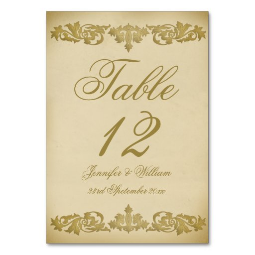 Vintage Leaf Scroll Wedding Table Number Table Cards