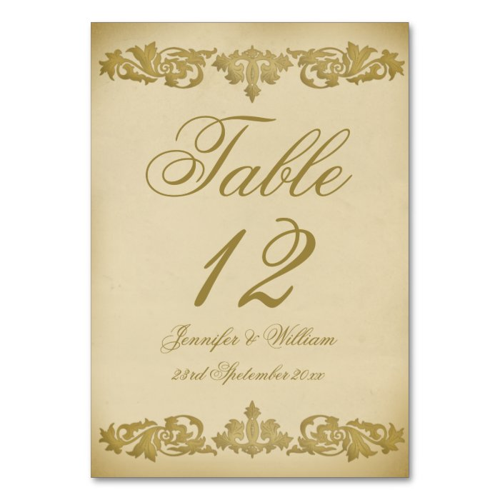 Vintage Leaf Scroll Wedding Table Number Table Cards