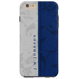 Vintage Leafy Swirls in Navy Blue and Silver Tough iPhone 6 Plus Case