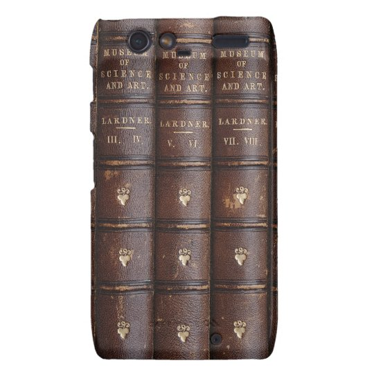 Vintage Leather Library Books Motorola RAZR Case