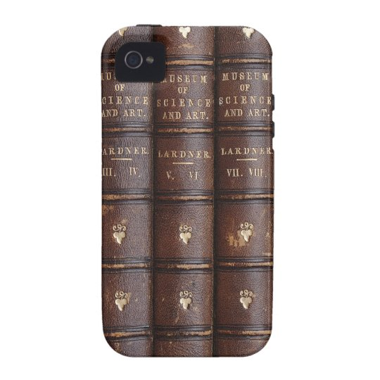 Vintage Leather Library Books on iPhone 4 Tough Vibe iPhone 4 Covers