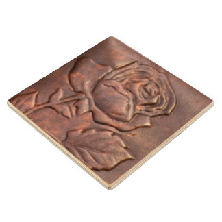 Vintage leather rose look wood coaster