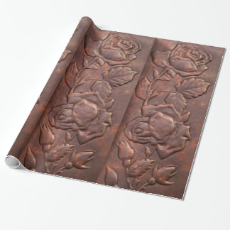 Vintage leather rose look wrapping paper