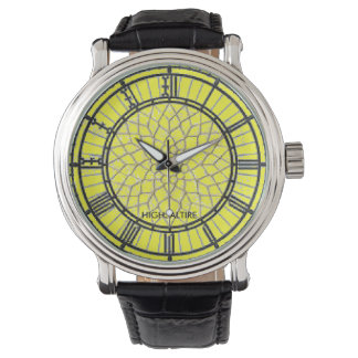 Vintage Leather Strap Watch, yellow big ben Wristwatch