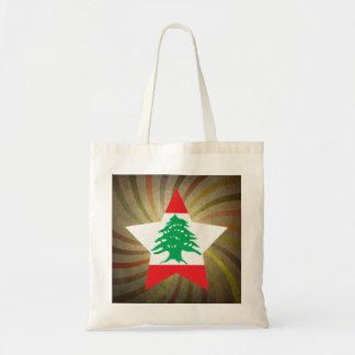 Vintage Lebanese Flag Swirl Budget Tote Bag