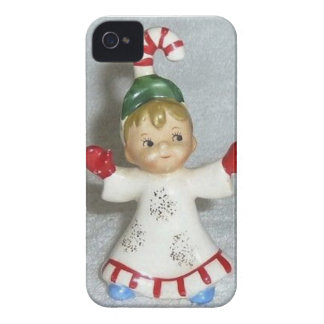 Vintage Lefton Christmas Candy Cane Kid iPhone 4 Case-Mate Case