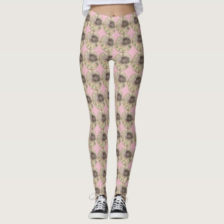 Vintage Leggings pink with clocks young