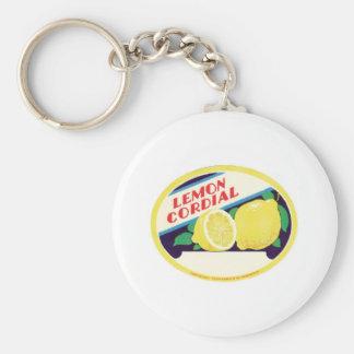 Vintage Lemon Cordial Label Basic Round Button Key Ring