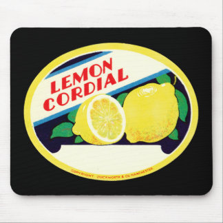 Vintage Lemon Cordial Label Mouse Mat