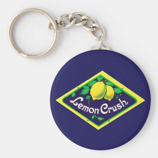 Vintage Lemon Crush Label Key Chain