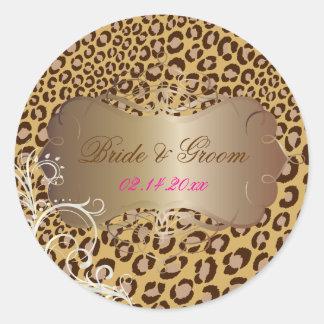 Vintage Leopard pearl swirls wedding stickers