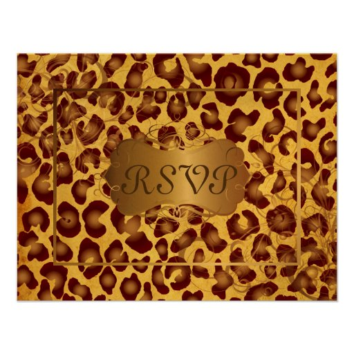 Vintage Leopard RSVPs require 5x7 invitations