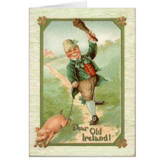Vintage Leprechaun Pig Shillelagh St Patrick's Day Card