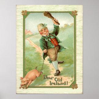 Vintage Leprechaun Pig Shillelagh St Patrick's Day Poster