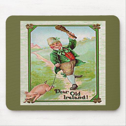 vintage leprechaun walking a pig mousepad