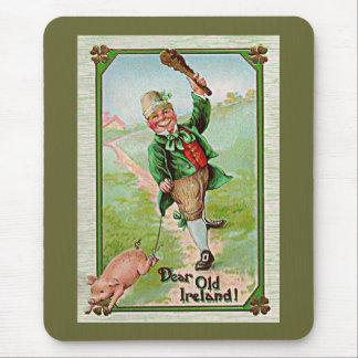 vintage leprechaun walking a pig mouse pad
