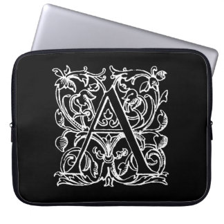 Vintage Letter A Monogram Black White Monogrammed Laptop Sleeve