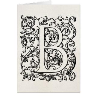 """Vintage Letter B Monogram Parchment """"B"""" Initials Card"""