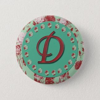Vintage Letter D 6 Cm Round Badge