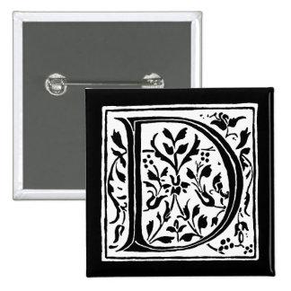 Vintage Letter D Monogram Black and White Monogram 15 Cm Square Badge