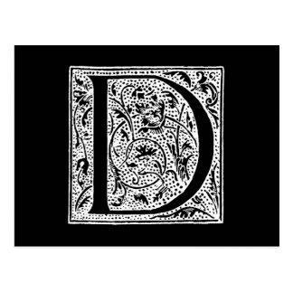 "Vintage Letter D Monogram Black White ""D"" Initials Post Cards"