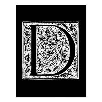 """Vintage Letter D Monogram Black White """"D"""" Initials Postcard"""
